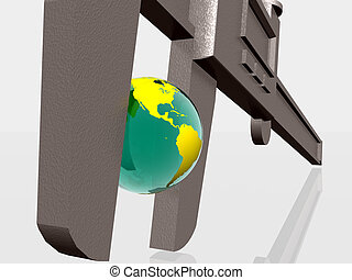 Earth being squeezed with caliper - 3d illustration of Earth...