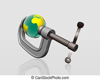 Earth being squeezed with clamp - 3d illustration of Earth...
