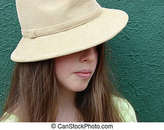 Young Girl with Camel Coloured Hat