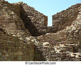Ancient Home - Ruins of Casa Rinconada at Chaco Canyon in...