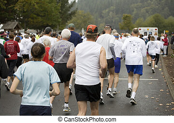 Runners at the Great Columbia Crossing - Photo of runners at...