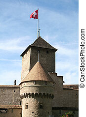 Swiss castle - Castle with a swiss flag