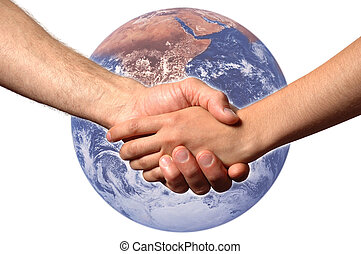 Hand Shake - shaking hands with planet earth in background