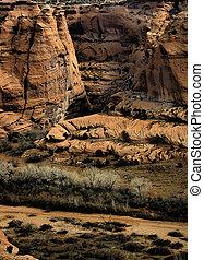 """Canyon Walls - Red canyon walls at \\\""""Canyon de Chelly\\\""""..."""