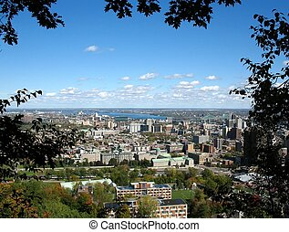 View of Montreal from Mont-Royal through trees - View of...