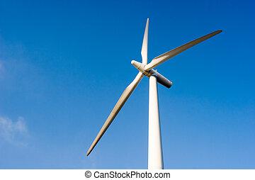 Wind Turbine - Wind turbine against blue sky