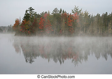 Fall Reflection - Lake in Fall with foliage and fog