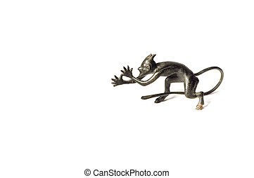 Devil - series: isolated on white: old figurine - Devil