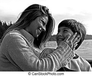 black and white mother and child - black and white photo of...