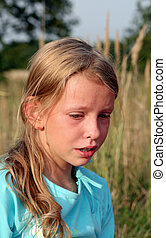 Sadness - Young girl crying Sunny afternoon