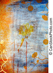 Grunge wall background with daisies - Blue and orange grunge...