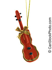 Christmas Decoration - a red violin is isolated on a pure...