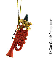 Christmas Decoration - a red trumpet is isolated on a pure...