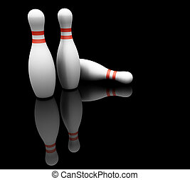 Bowling pins - 3D render of bowling pins