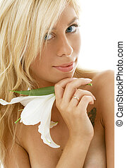 madonna lily #3 - pretty lady with madonna lily over white...