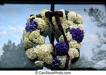 Funeral Wreath - funeral wreath hanging on out side of...