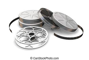 Films reels - 3D render of film reels and film cartons