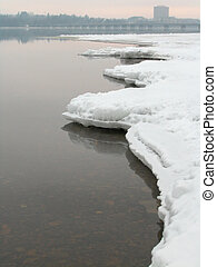 Jagged frozen shore - Winter Landscape on the Ottawa River -...