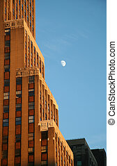 New York City Building with Moon