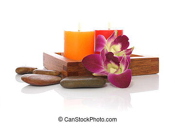 Spa Objects - candle, ochids and river stones for spa