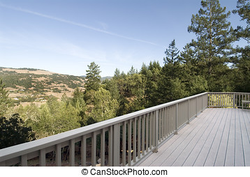 deck with a view - detail of modern residential backyard...