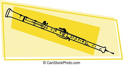 oboe icon - line drawing of a oboe wood wind musical...