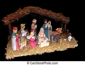 Nativity scene decoration with stable and figures