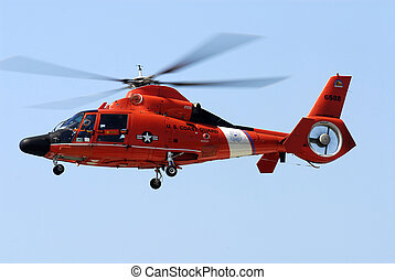 US Coast Guard Helicopter - US Coast Guard helicopter on a...