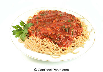 spaghetti dinner - whole wheat spaghetti with vegetable...