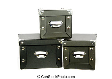 Three Storage Boxes - Leather covered storage boxes with...