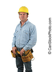 Construction Worker - A blue collar construction worker,...