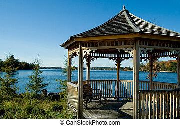Lakeside Gazebo - Pretty wooden gazebo beside a country...