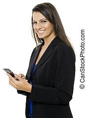 Sending Message - A young businesswoman sending a text...