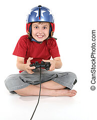 Happy child playing games - Happy child playing a flight...