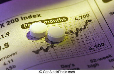pills on stock price chart.