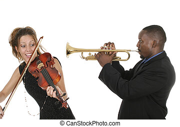 Two Musicians Play Around - Two musicians play around with...