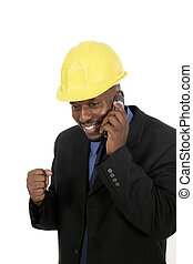 Architect or Construction Contractor - Smiling architect,...