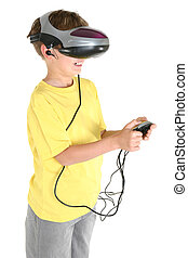 Virtual reality games - A happy child playing a virtual...