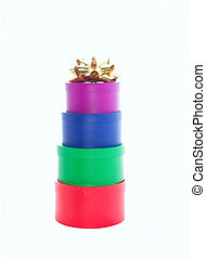 stacked gift boxes and bows - assorted stacked gift boxes...