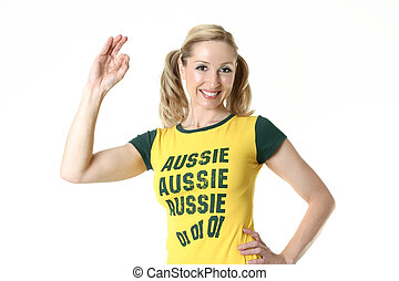 Female Aussie Fan - Female Aussie fan with a hand sign of...