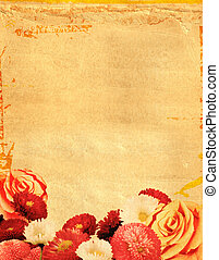 flower background - old paper background with many flowers