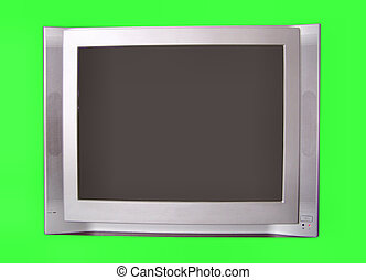 TELEVISION; SILVER; MATERIAL PLASTIC; ISOLATED;