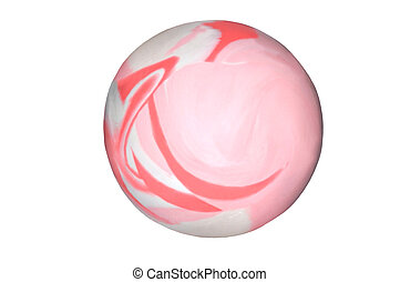Bouncey Ball - A pink & white swirl bouncey ball isolated on...