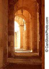 Ancient Roman corridor - Ancient long roman or greek...