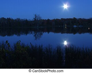 blue moon - moon late nite on the mille isles river in...