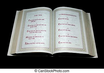 The Ten Commandments - The Holy Bible open to the Ten...