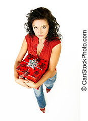 Give a gift - Beautiful woman with boxed gift in her hands