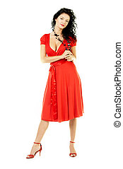 Red dress - Beautiful brunette woman in a red dress isolated...