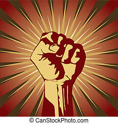 clenched fist - A clenched fist held high in protest