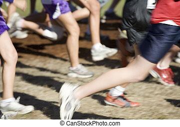 acción, foto, cruz, país, equipo, corredores